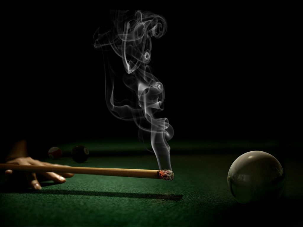 at, billiards, with